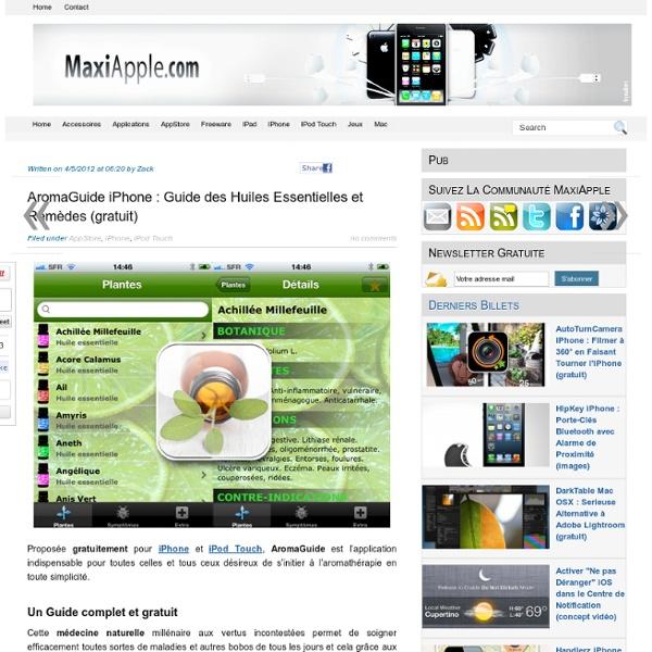 AromaGuide iPhone : Guide des Huiles Essentielles et Remèdes