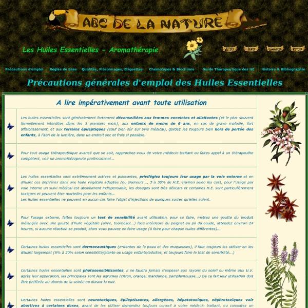 ABC de la Nature AROMA-PRO - Aromathérapie - Précautions d'emploi, conseils, chémotypes...
