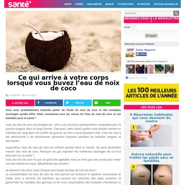 L'eau ( pas l'huile ) de noix de coco pour équilibrer taux de sucre dans le sang