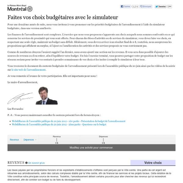 L'arrondissement du Plateau-Mont-Royal – Rééquilibrez le budget à votre guise