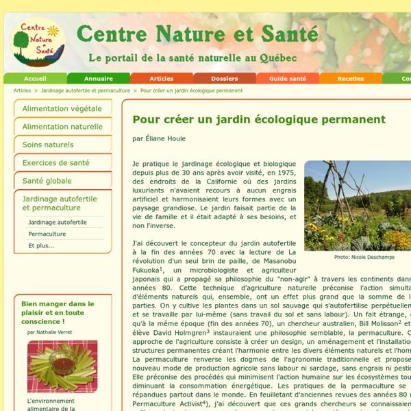 Pour créer un jardin écologique permanent