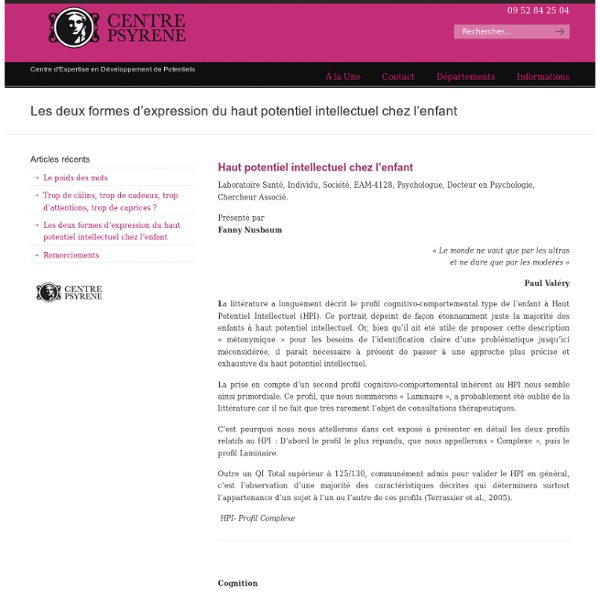 Article Centre PSYRENE - Les deux formes d'expression du haut potentiel chez l'enfant