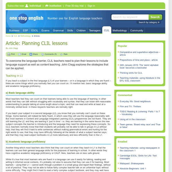 Article: Planning CLIL lessons