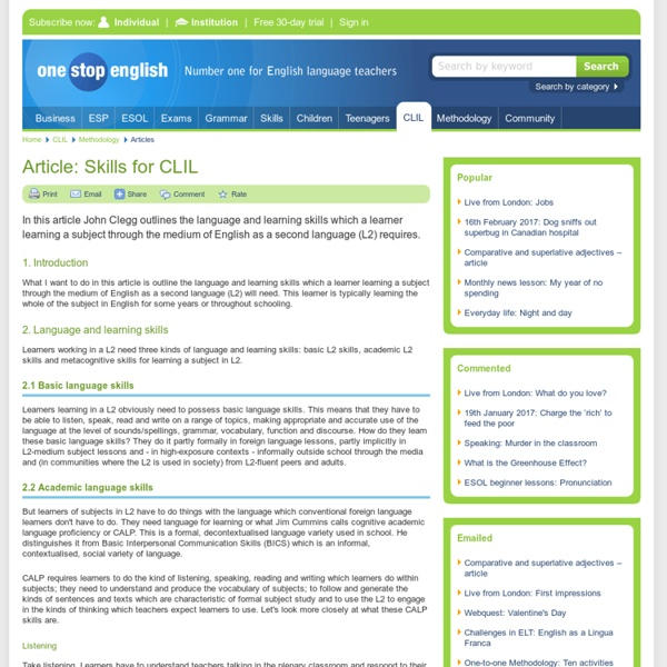 Article: Skills for CLIL