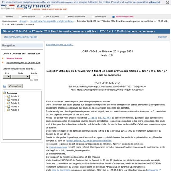 Décret n° 2014-136 du 17 février 2014 fixant les seuils prévus aux articles L. 123-16 et L. 123-16-1 du code de commerce