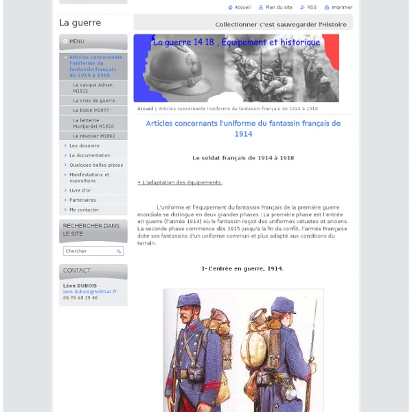 Articles concernants l'uniforme du fantassin français de 1914 à 1918