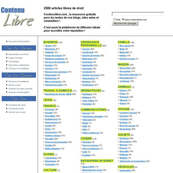 2600 Articles Libres de Droit - Contenu Libre