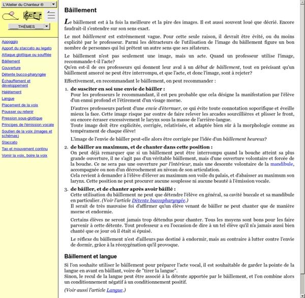 Articles sur le chant de l'Atelier du Chanteur. Technique vocale, pédagogie vocale