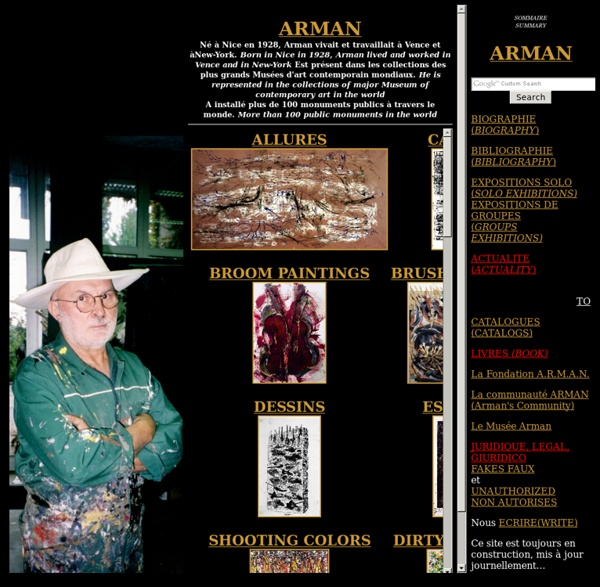 ARMAN artiste page d'accueil du site historique et officiel