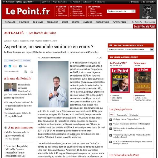 LE POINT 15/09/11 Aspartame, un scandale sanitaire en cours ?