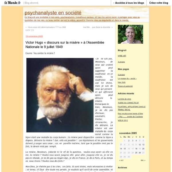 Victor Hugo «discours sur la misère» à l'Assemblée Nationale le 9 juillet 1849