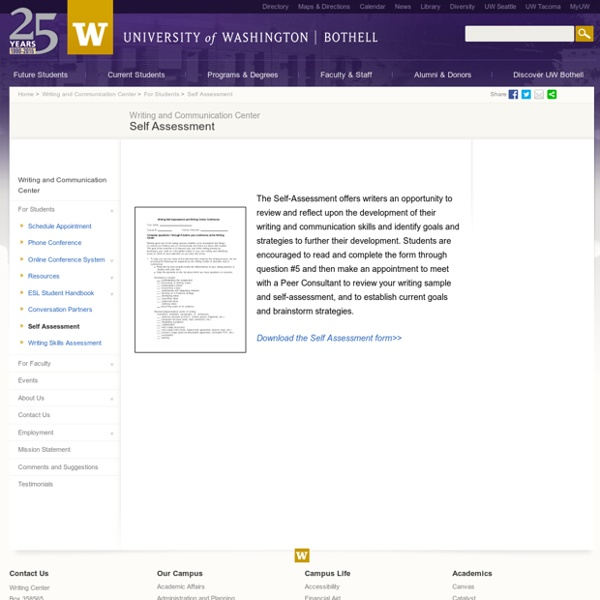 Self Assessment - For Students - Writing and Communication Center - UW Bothell