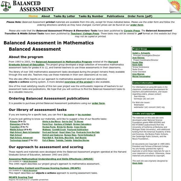 BA - Balanced Assessment in Mathematics
