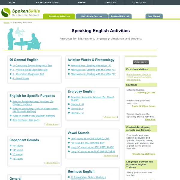 Oral English assessments and ESL speaking English activities