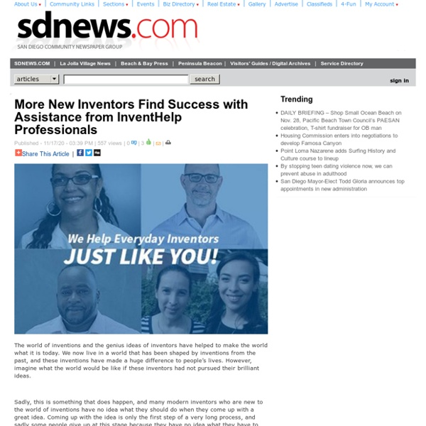 San Diego Community News Group - More New Inventors Find Success with Assistance from InventHelp Professionals