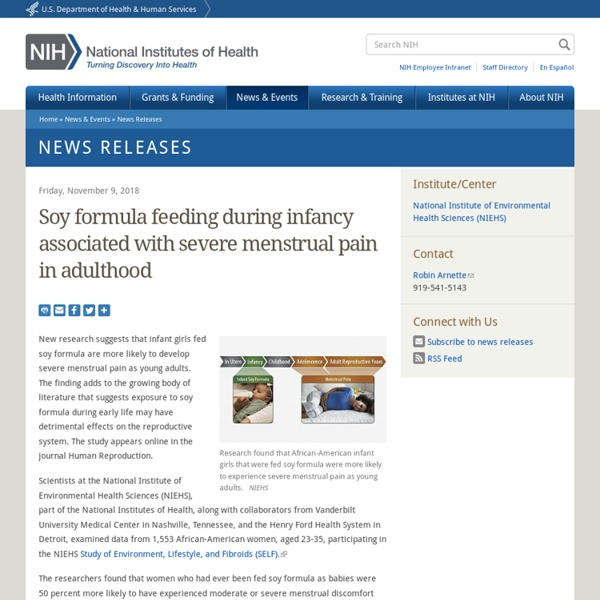 Soy formula feeding during infancy associated with severe menstrual pain in adulthood