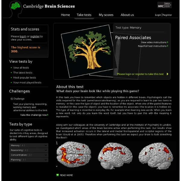 Paired Associates Memory Assessment - Cambridge Brain Sciences