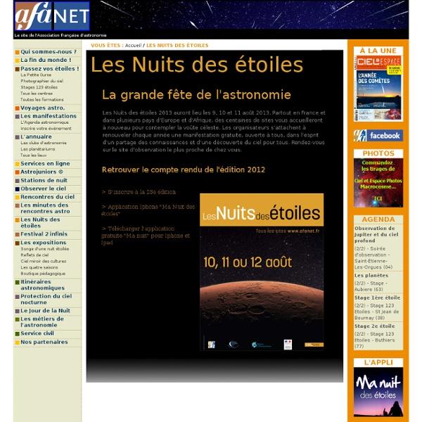 Les Nuits des étoiles 2012 - Association Francaise d'Astronomie (AFA)