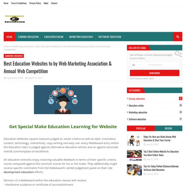 Best Education Websites to by Web Marketing Association & Annual Web Competition