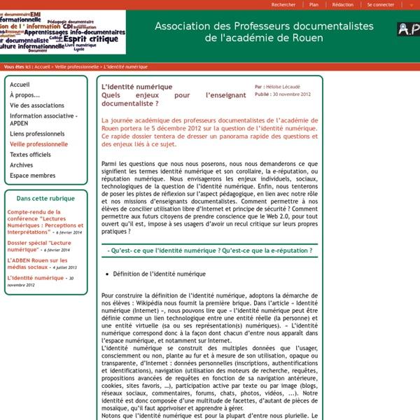ADBEN Rouen, Association des professeurs documentalistes de l'académie de Rouen - L'identité numérique