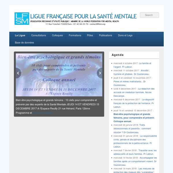 Association reconnue d'utilité publique : Membre de la World Federation for Mental Health