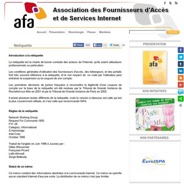 AFA - Association des Fournisseurs d'Accès et de Services Internet - Netiquette