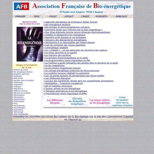 Association Française de Bio-énergie/Sommaire