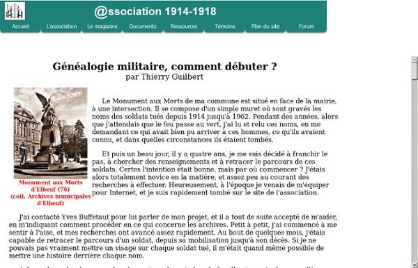 Association 1914-1918 - Généalogie militaire, comment débuter ?
