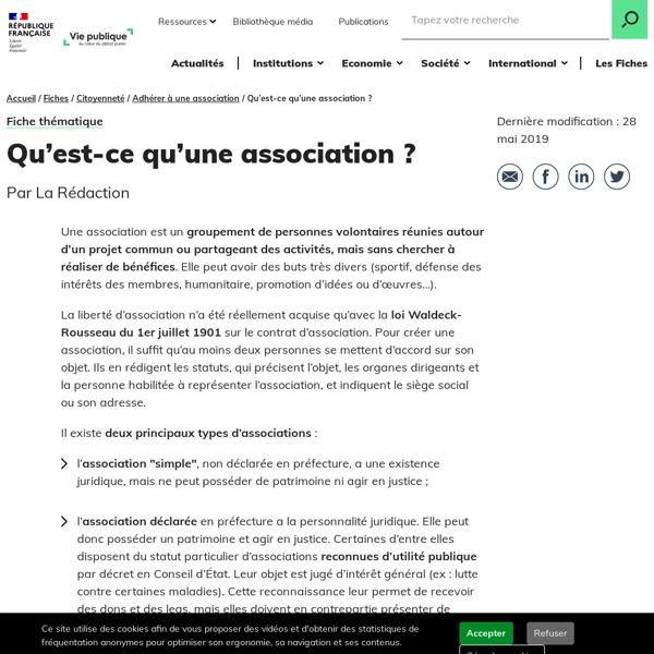 Qu'est-ce qu'une association ? - Participer à une association Découverte des institutions