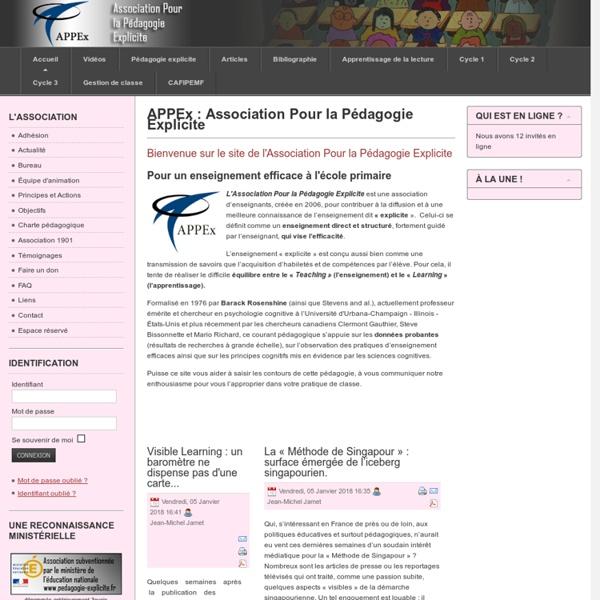 APPEx : Association Pour la Pédagogie Explicite