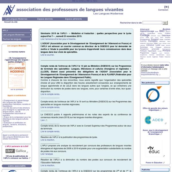 APLV Association des Professeurs de Langues Vivantes