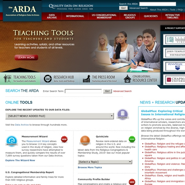 The Association of Religion Data Archives - U.S. and World Religion Statistics and Data - ARDA