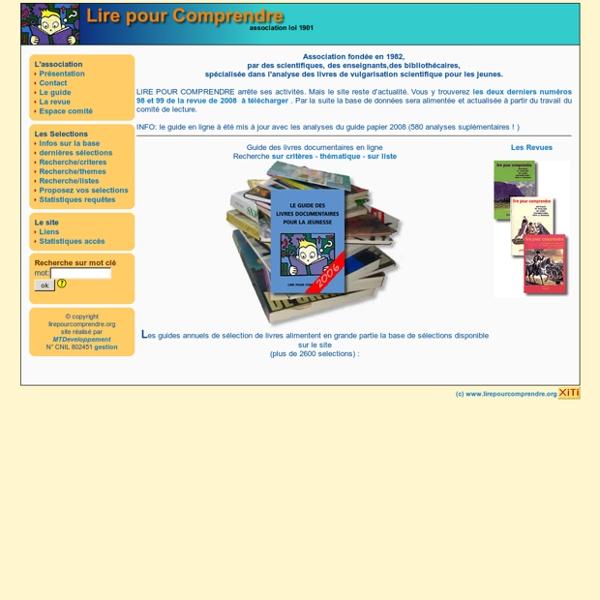 Association Lire Pour Comprendre ; sélection de livres scientifiques pour enfant