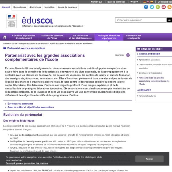 Partenariat entre l'Education Nationale et les grandes associations