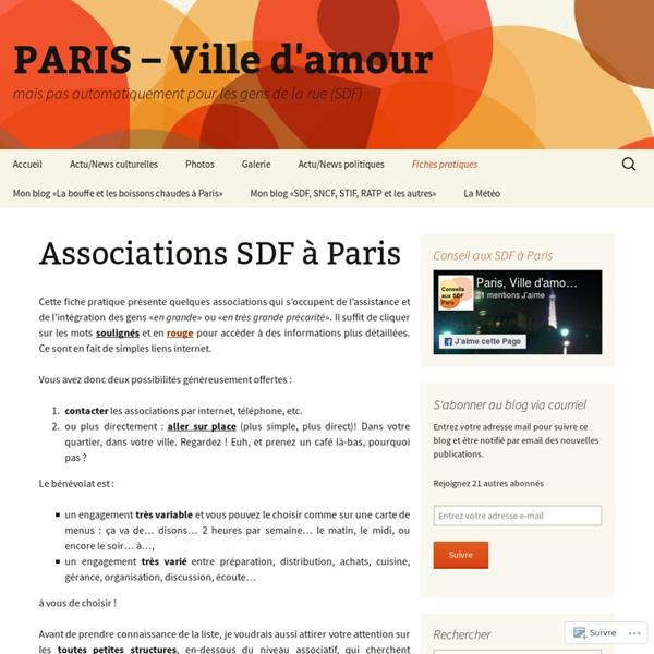 Associations SDF à Paris