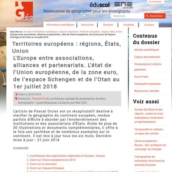 L'Europe entre associations, alliances et partenariats. L'état de l'Union européenne, de la zone euro, de l'espace Schengen et de l'Otan au 1er janvier 2014