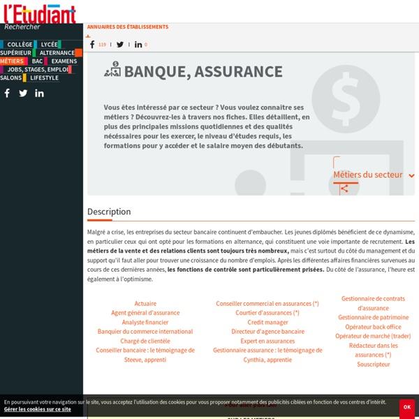 Banque assurance : les métiers du secteur banque - assurance
