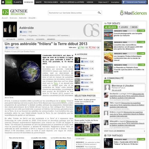 """Un gros astéroïde """"frôlera"""" la Terre début 2013"""