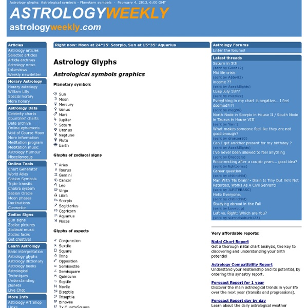 Astrology Glyphs Astrological Symbols Planetary Symbols
