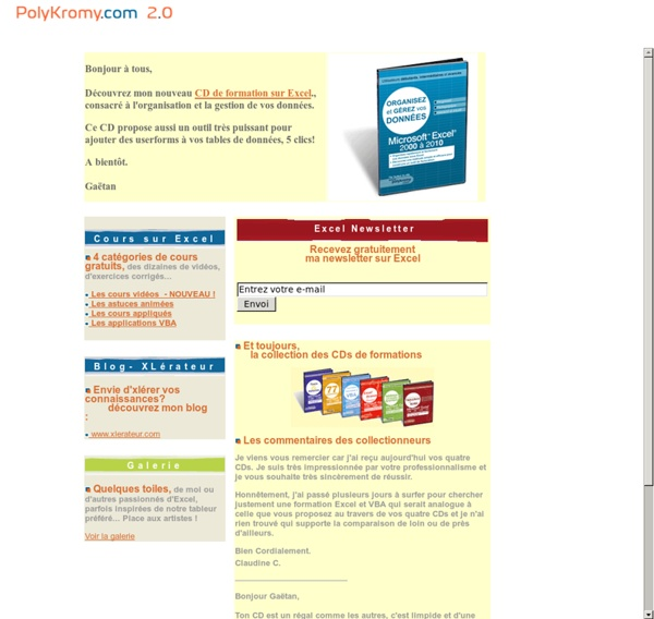 Excel - Cours - Astuces - Macros - Trucs - Applications VBA