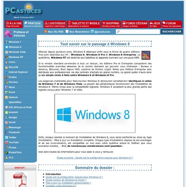 Tout savoir sur le passage à Windows 8