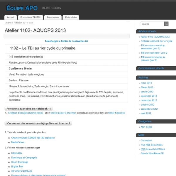 Atelier 1102- AQUOPS 2013 - Équipe APO