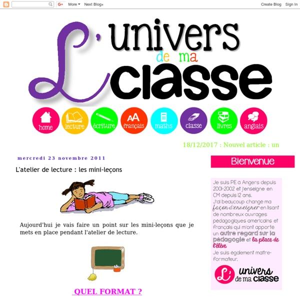 L'univers de ma classe: L'atelier de lecture : les mini-leçons