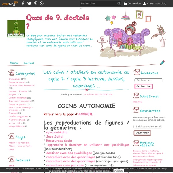 Les coins / ateliers en autonomie au cycle 2 / cycle 3 lecture, dessins, coloriages