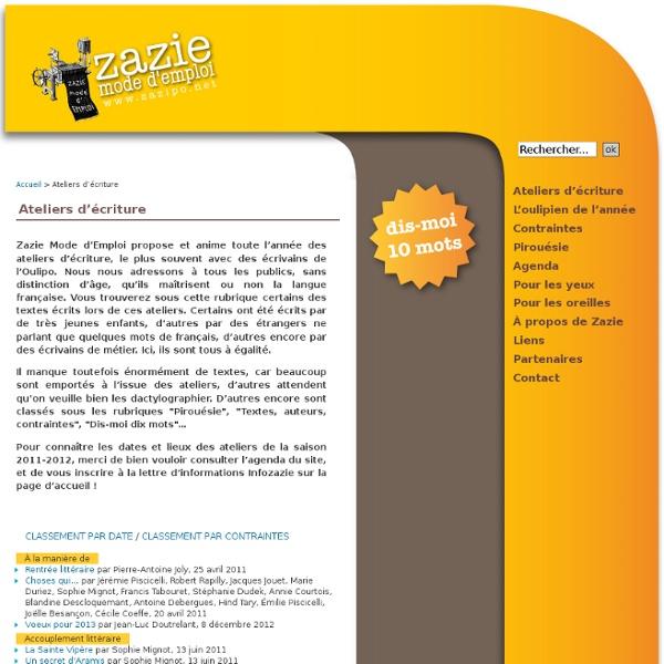 Ateliers d'écriture - Zazie Mode d'Emploi
