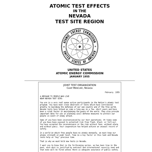 Atomic Test Effects in the Nevada Test Site Region