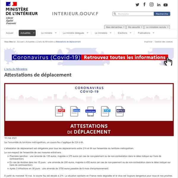 Attestations de déplacement / L'actu du Ministère / Actualités