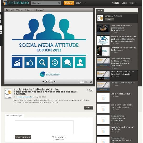 Social Media Attitude 2013 : les comportements des Français sur les...