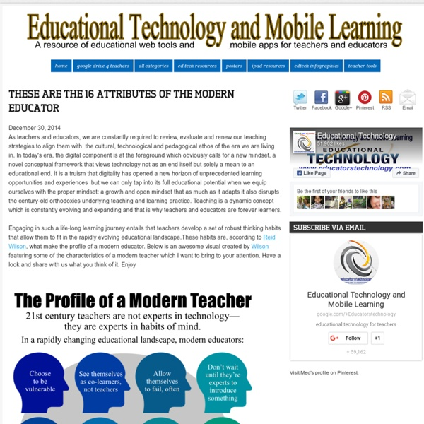 Educational Technology and Mobile Learning: These Are The 16 Attributes of The Modern Educator