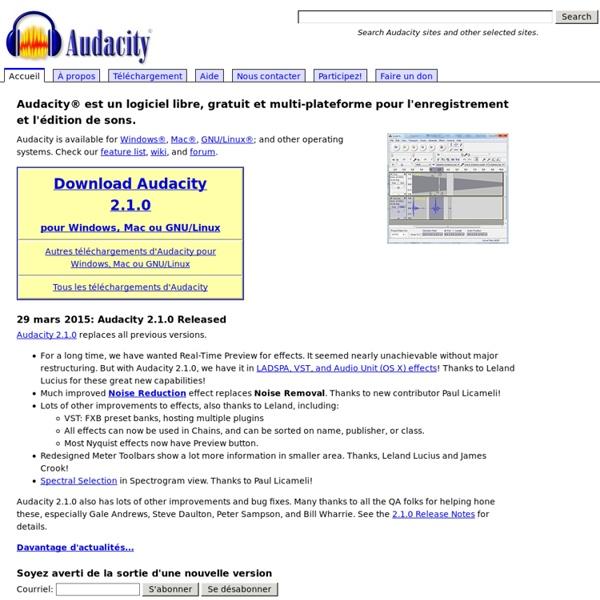Logiciel libre d'enregistrement et de montage audio